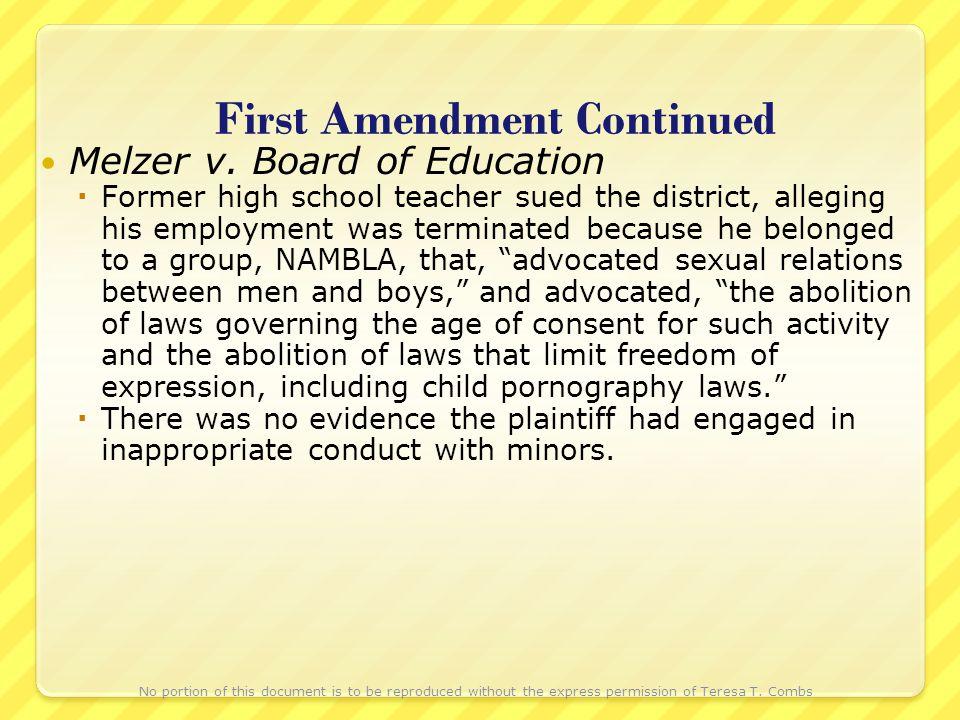 First Amendment Continued Melzer v.