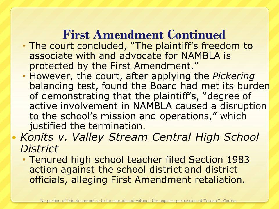 First Amendment Continued The court concluded, The plaintiffs freedom to associate with and advocate for NAMBLA is protected by the First Amendment. H