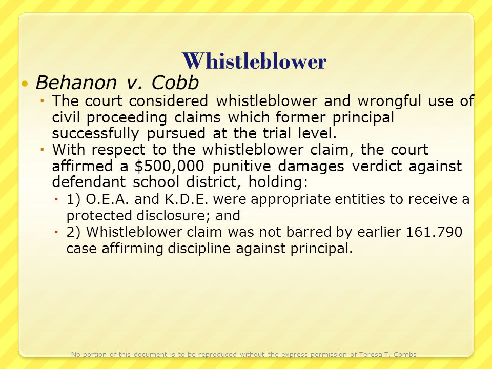 Whistleblower Behanon v. Cobb The court considered whistleblower and wrongful use of civil proceeding claims which former principal successfully pursu