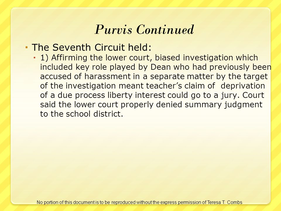 The Seventh Circuit held: 1) Affirming the lower court, biased investigation which included key role played by Dean who had previously been accused of