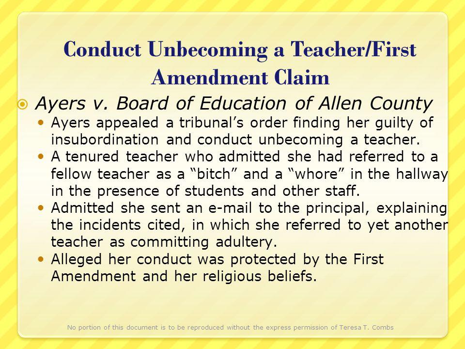Conduct Unbecoming a Teacher/First Amendment Claim Ayers v.