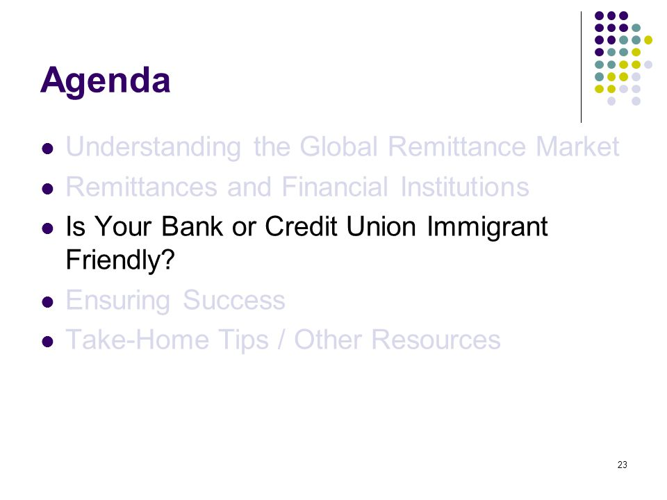 23 Agenda Understanding the Global Remittance Market Remittances and Financial Institutions Is Your Bank or Credit Union Immigrant Friendly.