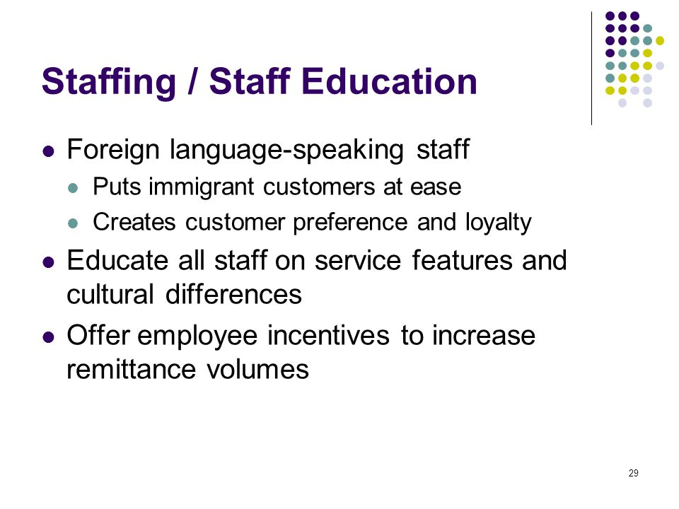 29 Staffing / Staff Education Foreign language-speaking staff Puts immigrant customers at ease Creates customer preference and loyalty Educate all staff on service features and cultural differences Offer employee incentives to increase remittance volumes
