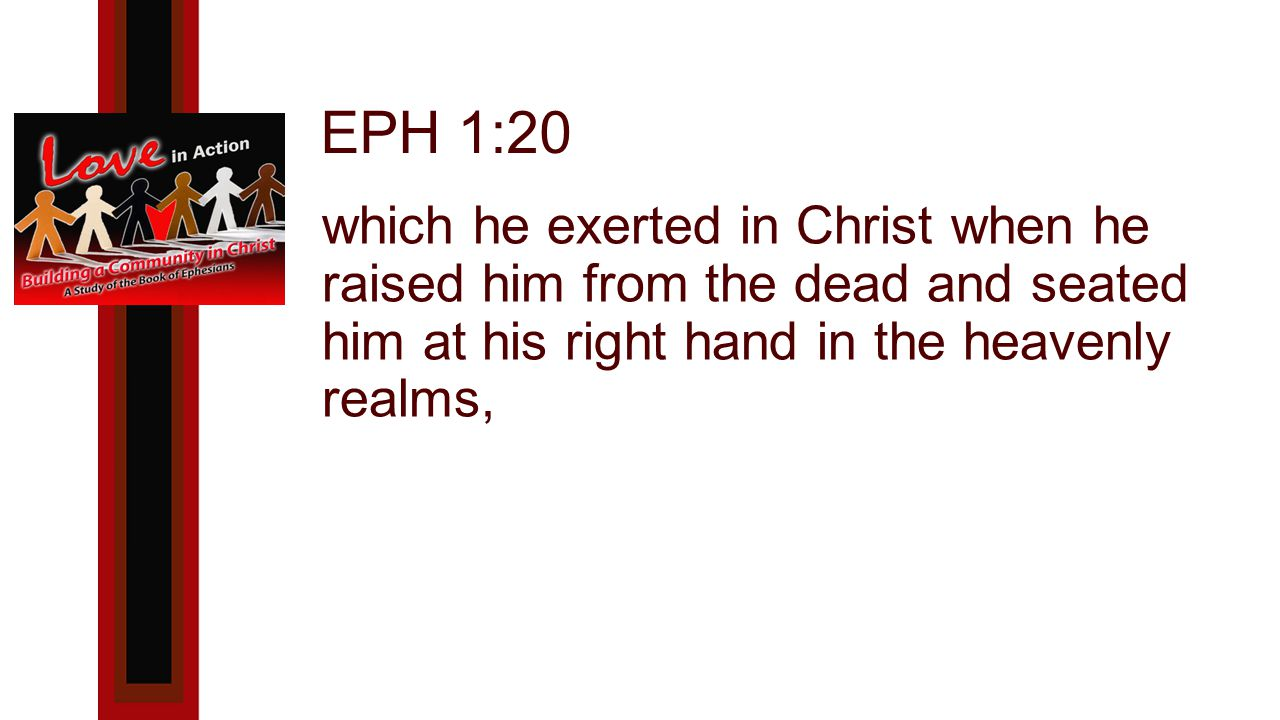 EPH 1:20 which he exerted in Christ when he raised him from the dead and seated him at his right hand in the heavenly realms,