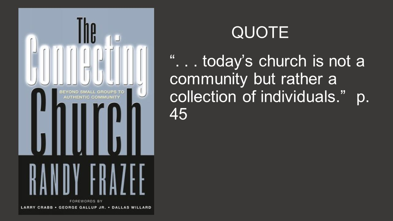 QUOTE... todays church is not a community but rather a collection of individuals. p. 45