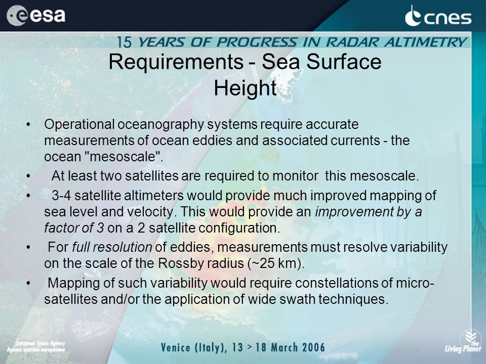 Requirements - Sea Surface Height Operational oceanography systems require accurate measurements of ocean eddies and associated currents - the ocean mesoscale .