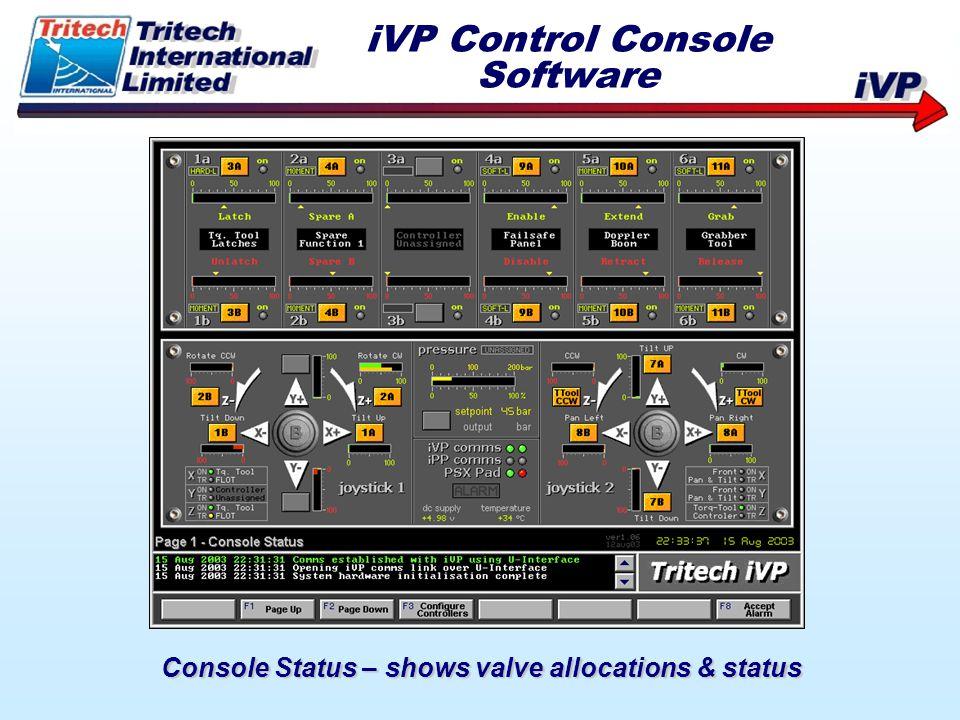 Console Status – shows valve allocations & status iVP Control Console Software