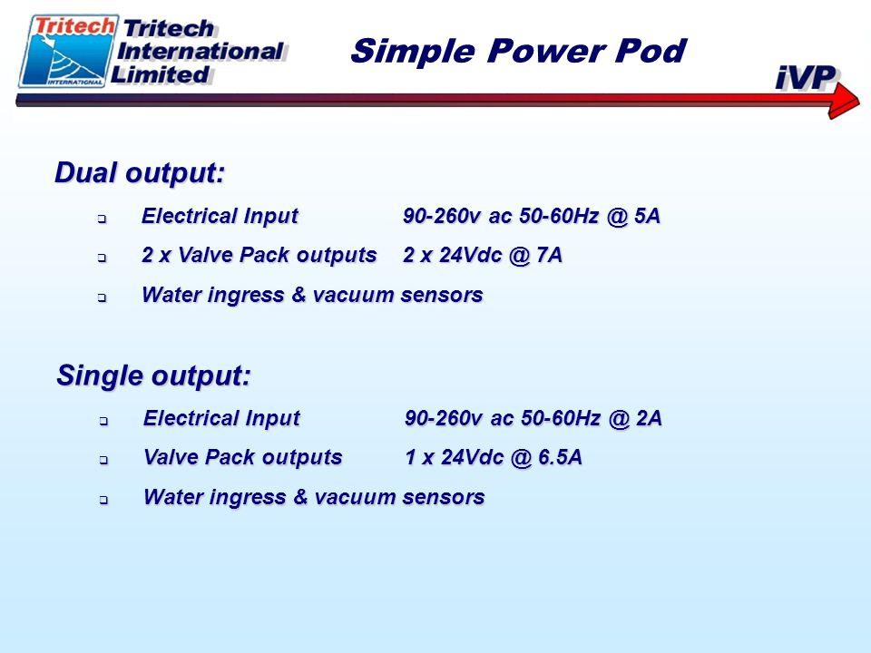 Dual output: Electrical Input90-260v ac 50-60Hz @ 5A Electrical Input90-260v ac 50-60Hz @ 5A 2 x Valve Pack outputs2 x 24Vdc @ 7A 2 x Valve Pack outpu
