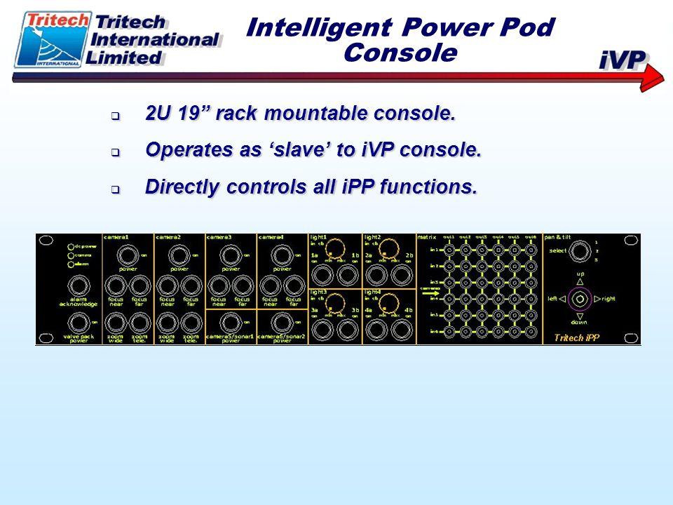 2U 19 rack mountable console. 2U 19 rack mountable console. Operates as slave to iVP console. Operates as slave to iVP console. Directly controls all