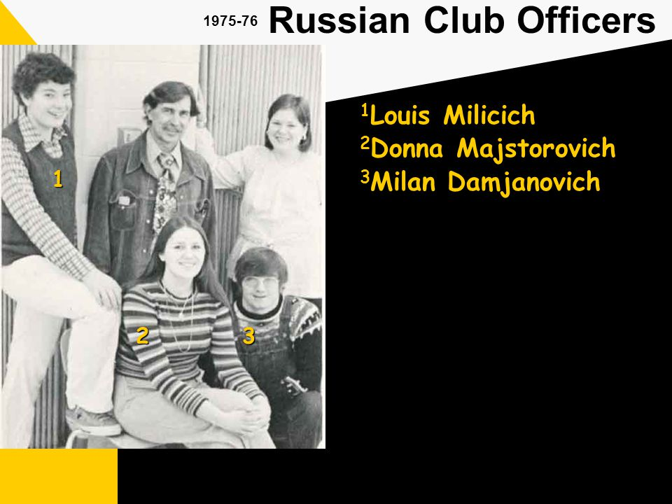 1975-76 Russian Club Officers 1 Louis Milicich 1 23 3 Milan Damjanovich 2 Donna Majstorovich