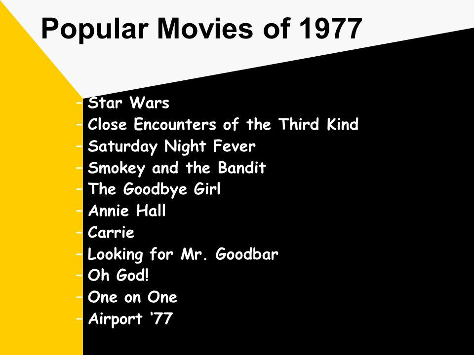 Popular Movies of 1977 –Star Wars –Close Encounters of the Third Kind –Saturday Night Fever –Smokey and the Bandit –The Goodbye Girl –Annie Hall –Carrie –Looking for Mr.