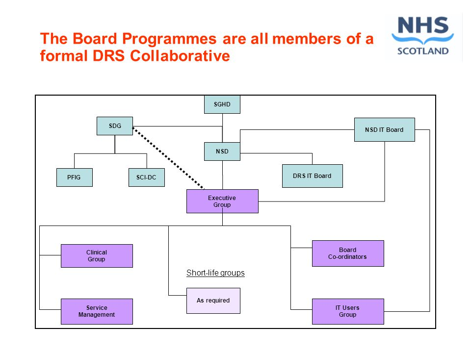SGHD SDG NSD Executive Group DRS IT Board PFIG Clinical Group Service Management As required Board Co-ordinators IT Users Group Short-life groups SCI-DC NSD IT Board The Board Programmes are all members of a formal DRS Collaborative