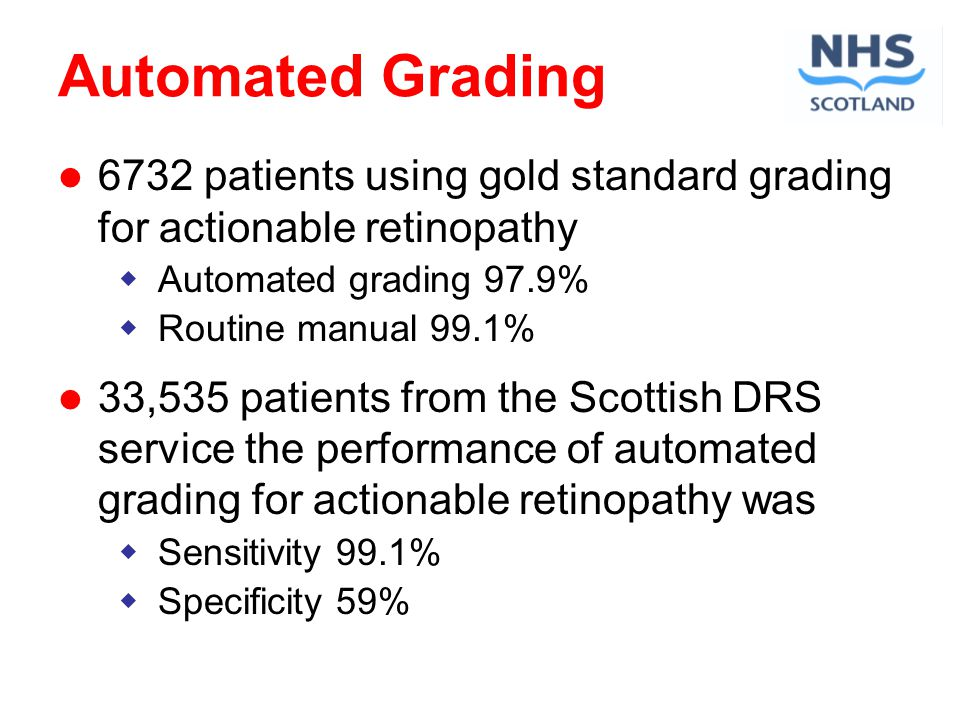 Automated Grading 6732 patients using gold standard grading for actionable retinopathy Automated grading 97.9% Routine manual 99.1% 33,535 patients from the Scottish DRS service the performance of automated grading for actionable retinopathy was Sensitivity 99.1% Specificity 59%