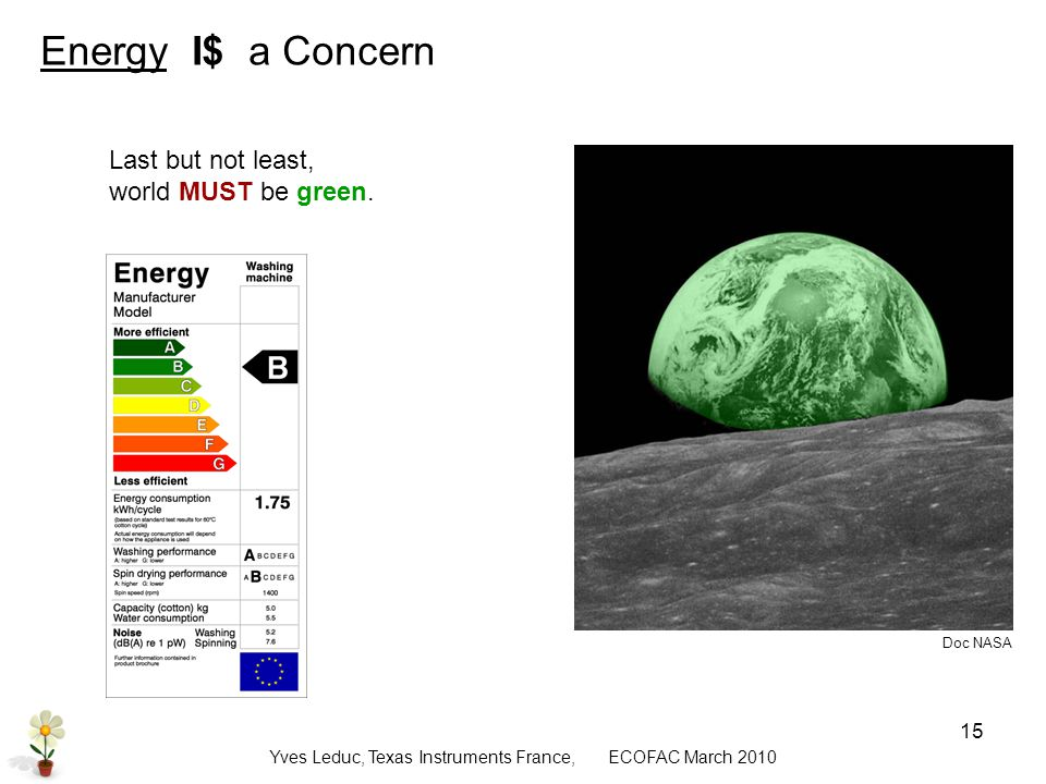 Yves Leduc, Texas Instruments France, ECOFAC March Energy I$ a Concern Last but not least, world should be green, of course Last but not least, world MUST be green.