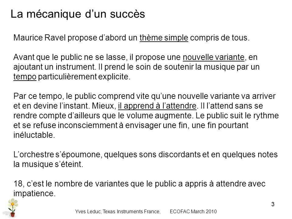 Yves Leduc, Texas Instruments France, ECOFAC March 2010 4 Un succès qui ne peut être eternel Mais la recette de ce succès contient sa fin.