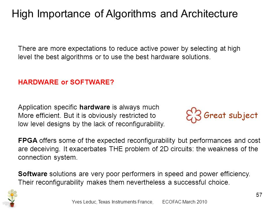 Yves Leduc, Texas Instruments France, ECOFAC March High Importance of Algorithms and Architecture There are more expectations to reduce active power by selecting at high level the best algorithms or to use the best hardware solutions.