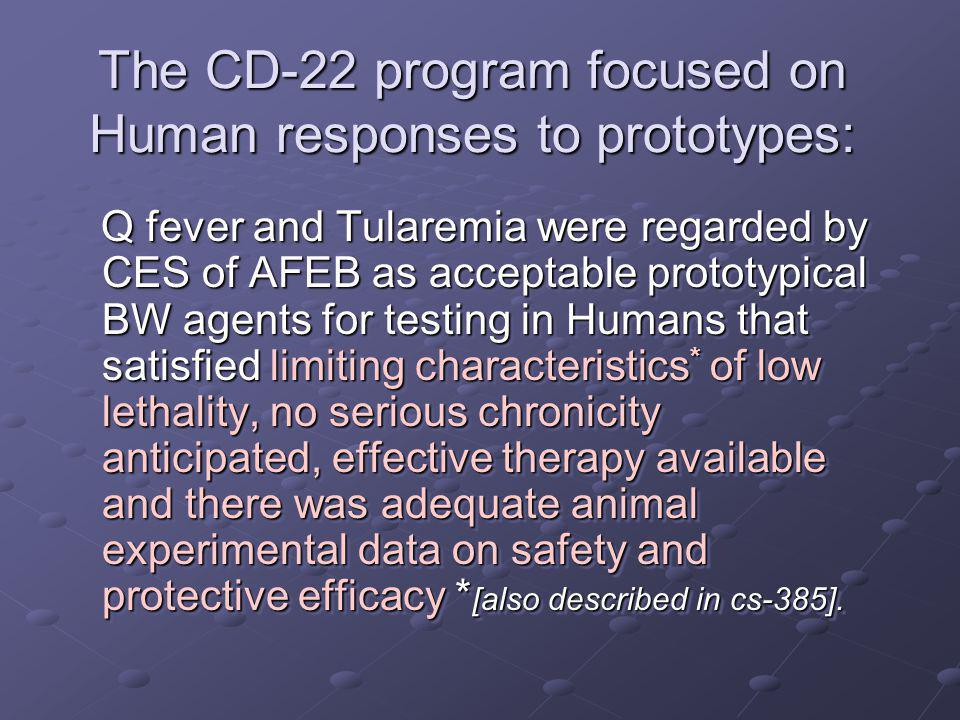 The CD-22 program focused on Human responses to prototypes: Q fever and Tularemia were regarded by CES of AFEB as acceptable prototypical BW agents fo