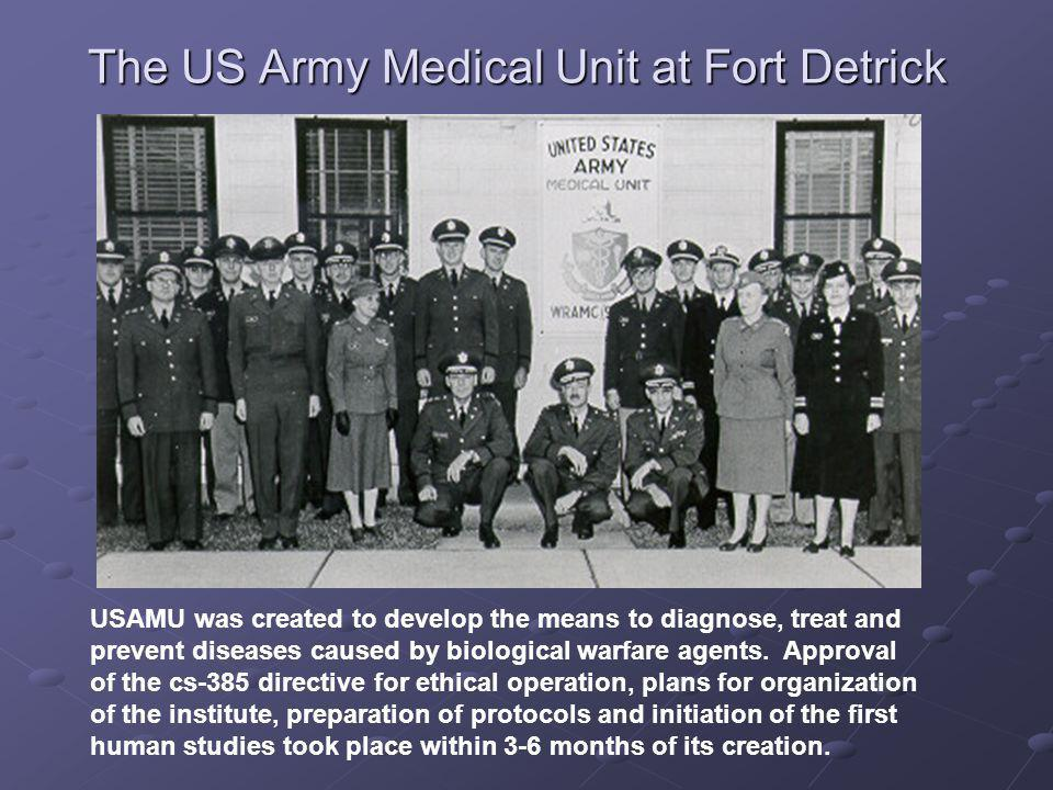 USAMU was created to develop the means to diagnose, treat and prevent diseases caused by biological warfare agents.