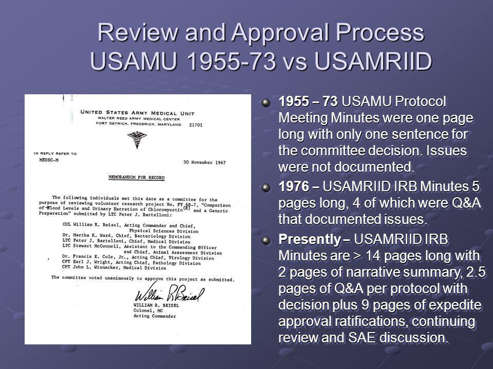 1955 – 73 USAMU Protocol Meeting Minutes were one page long with only one sentence for the committee decision.