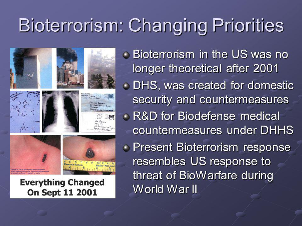 Bioterrorism: Changing Priorities Bioterrorism in the US was no longer theoretical after 2001 DHS, was created for domestic security and countermeasures R&D for Biodefense medical countermeasures under DHHS Present Bioterrorism response resembles US response to threat of BioWarfare during World War II