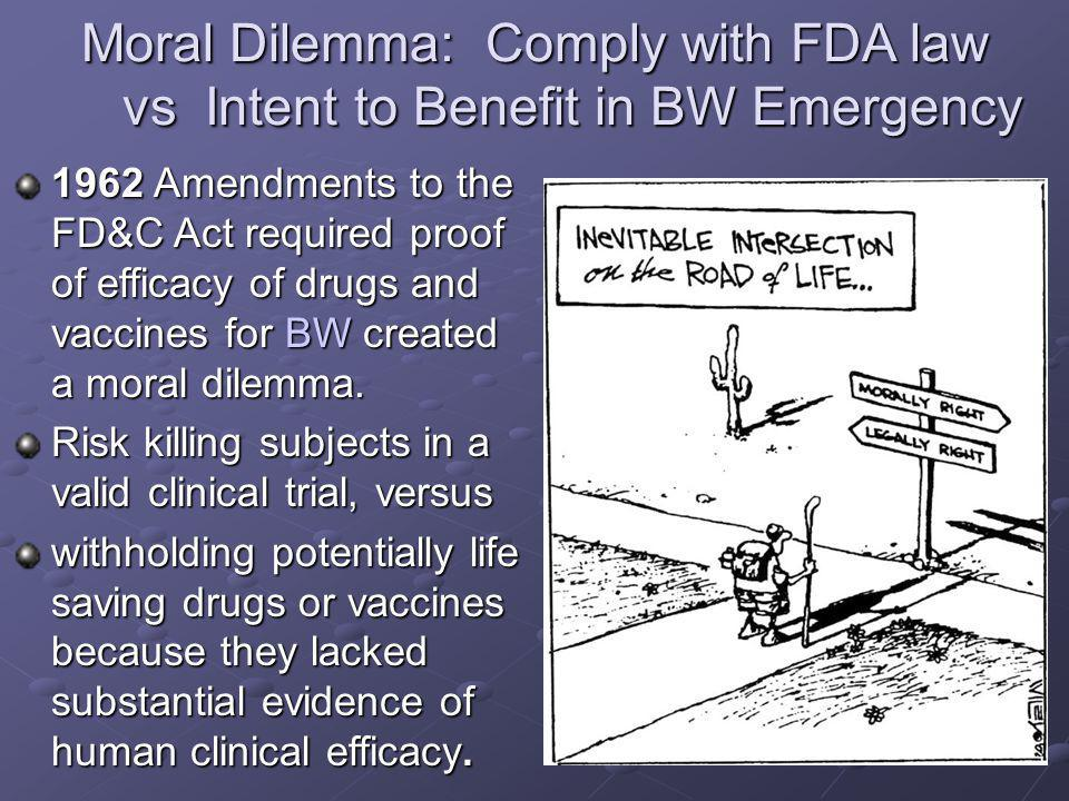1962 Amendments to the FD&C Act required proof of efficacy of drugs and vaccines for BW created a moral dilemma. Risk killing subjects in a valid clin