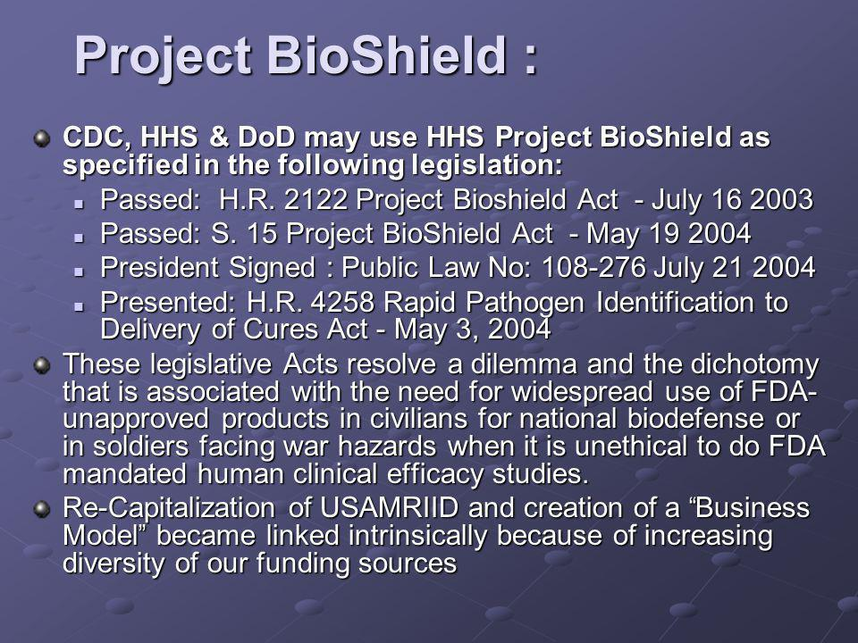 Project BioShield : CDC, HHS & DoD may use HHS Project BioShield as specified in the following legislation: Passed: H.R.