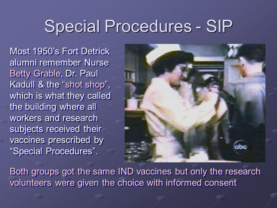 Special Procedures - SIP Most 1950s Fort Detrick alumni remember Nurse Betty Grable, Dr.