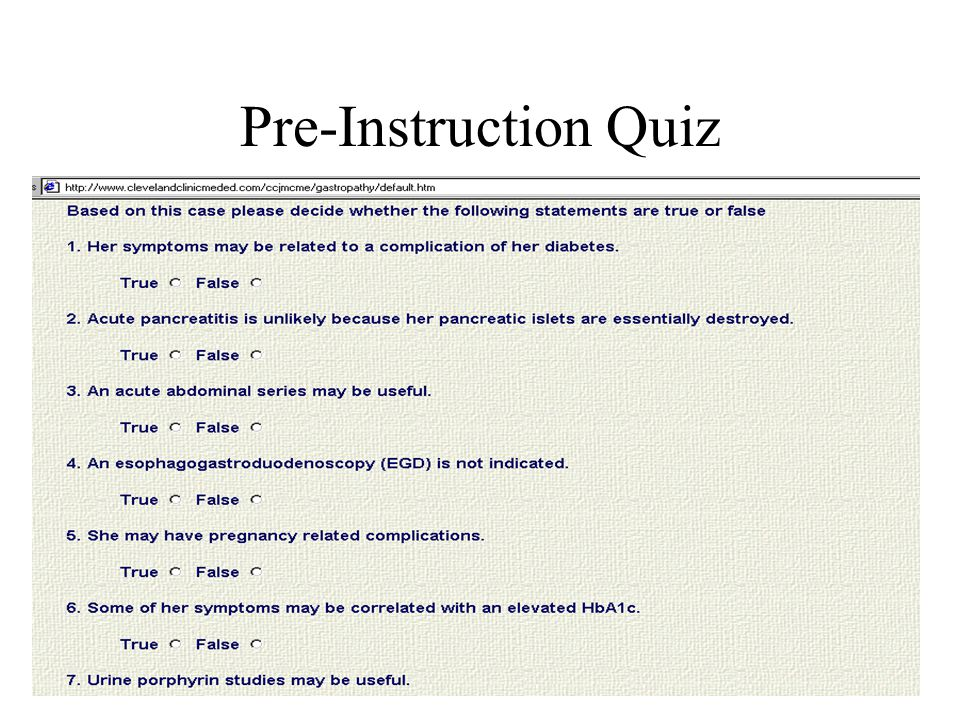 Pre-Instruction Quiz