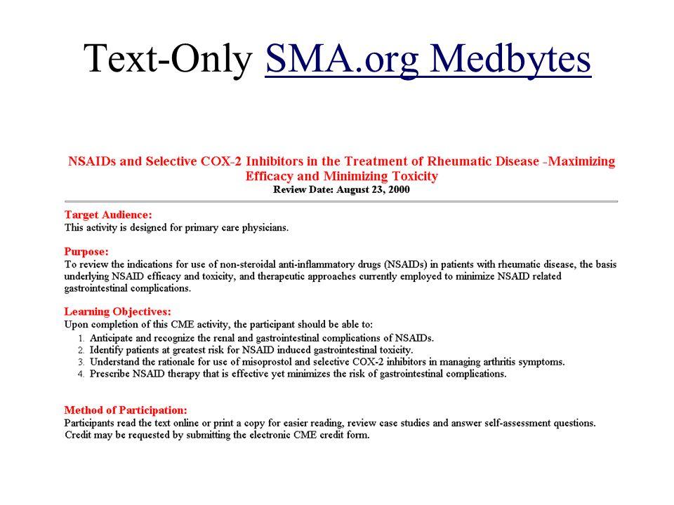 Text-Only SMA.org MedbytesSMA.org Medbytes