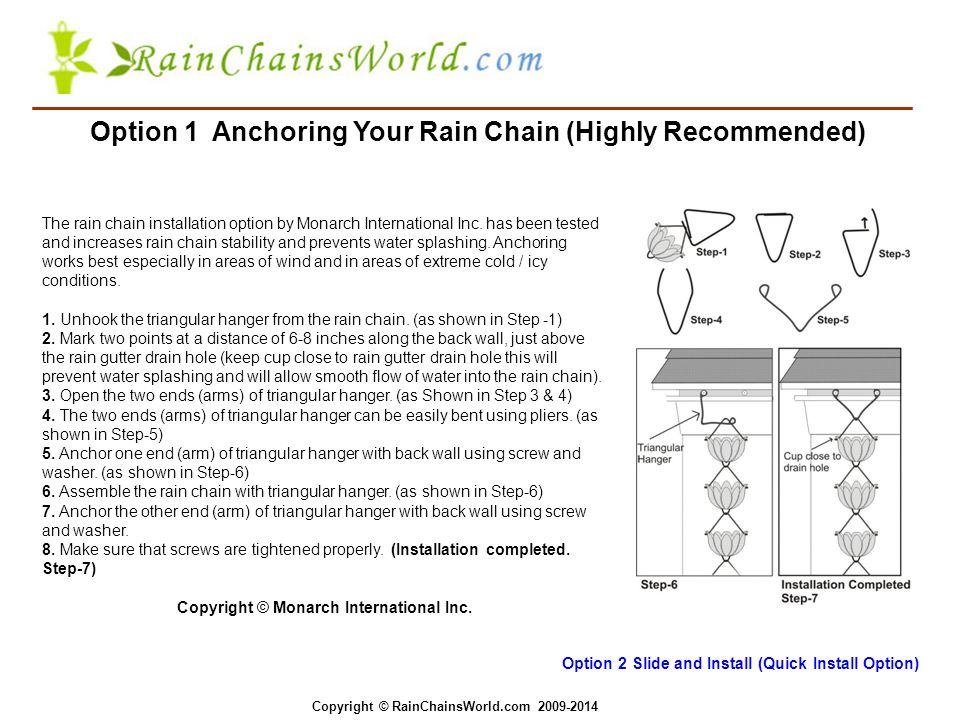 Rain Chains Installation Option 1 The rain chain installation option by Monarch International Inc.