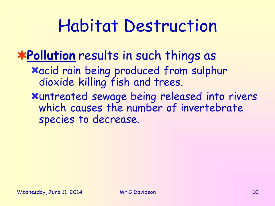 Habitat Destruction Pollution results in such things as acid rain being produced from sulphur dioxide killing fish and trees.