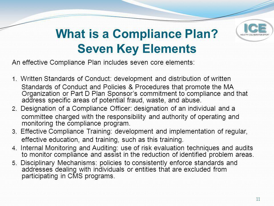 11 What is a Compliance Plan? Seven Key Elements An effective Compliance Plan includes seven core elements: 1. Written Standards of Conduct: developme