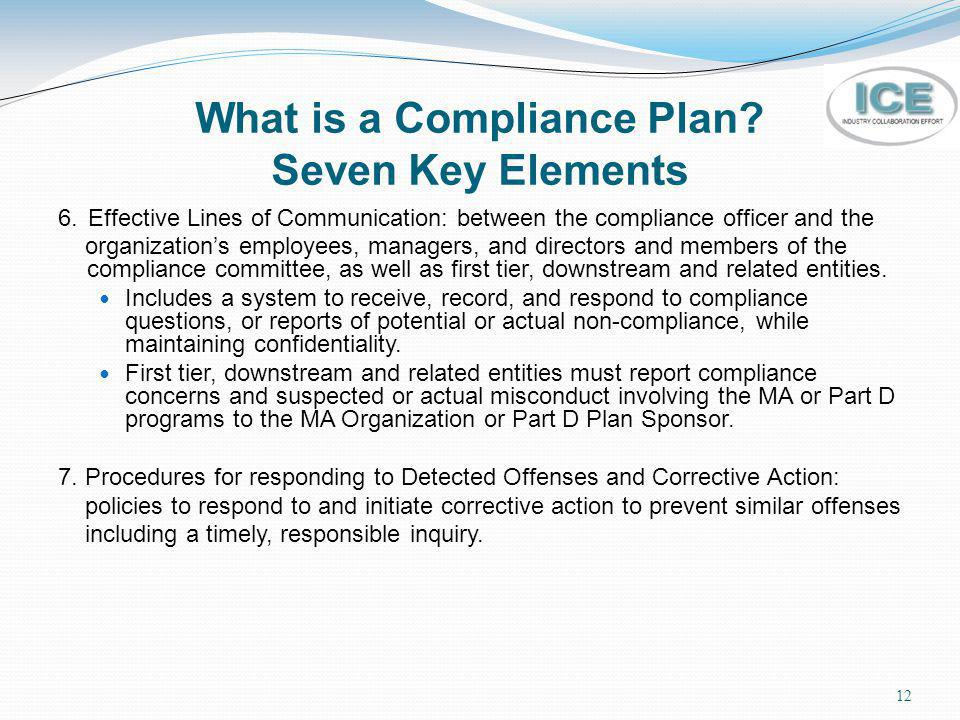 12 What is a Compliance Plan? Seven Key Elements 6. Effective Lines of Communication: between the compliance officer and the organizations employees,