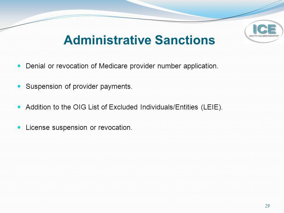 29 Administrative Sanctions Denial or revocation of Medicare provider number application. Suspension of provider payments. Addition to the OIG List of
