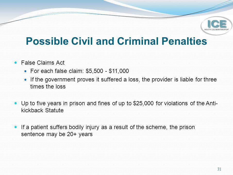 31 Possible Civil and Criminal Penalties False Claims Act For each false claim: $5,500 - $11,000 If the government proves it suffered a loss, the prov
