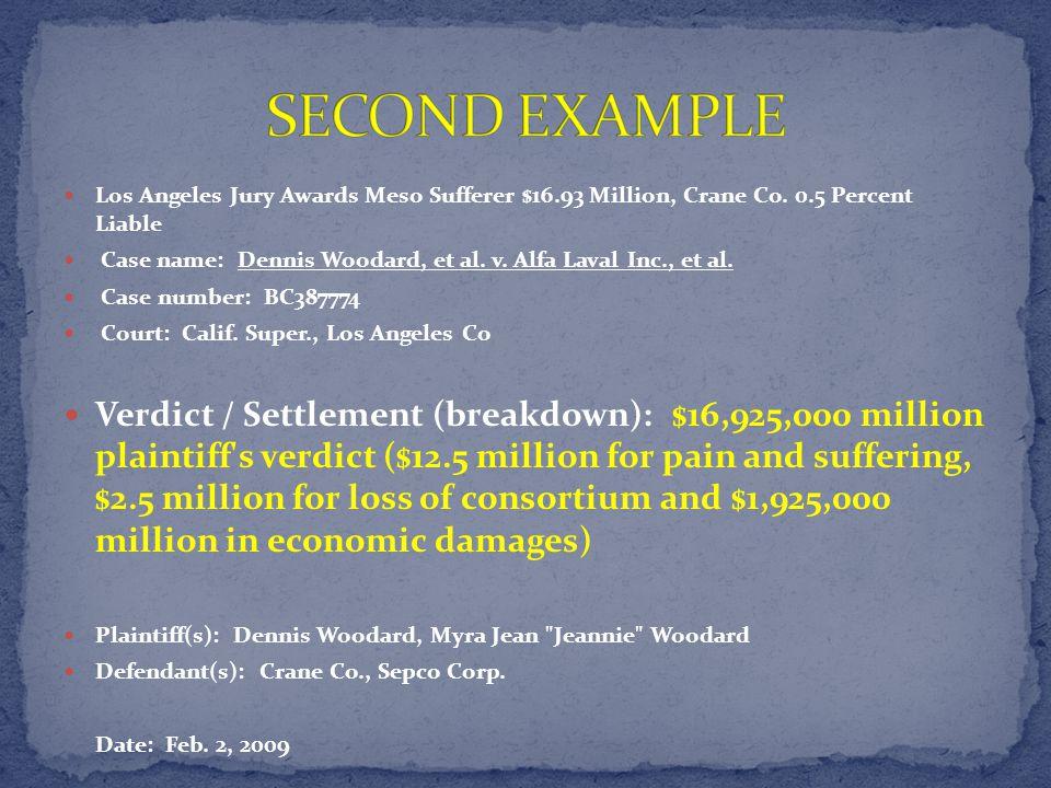 Los Angeles Jury Awards Meso Sufferer $16.93 Million, Crane Co.