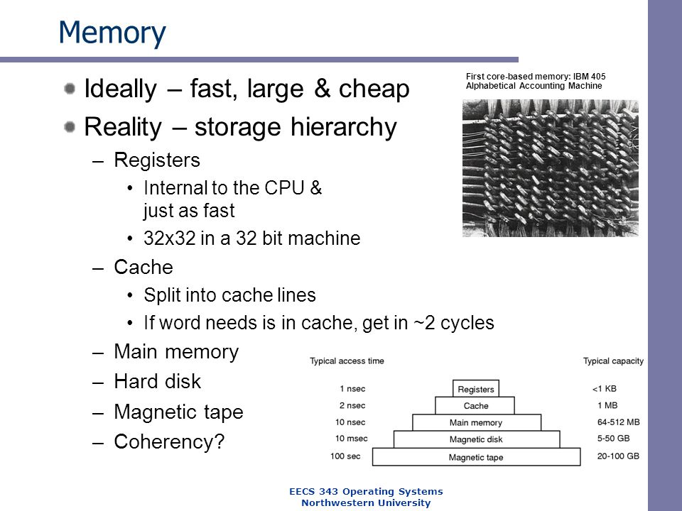 Memory Ideally – fast, large & cheap Reality – storage hierarchy –Registers Internal to the CPU & just as fast 32x32 in a 32 bit machine –Cache Split