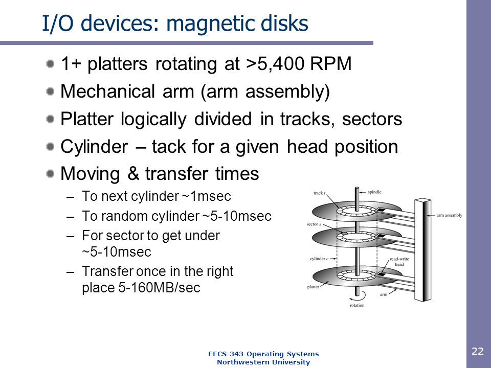 22 EECS 343 Operating Systems Northwestern University I/O devices: magnetic disks 1+ platters rotating at >5,400 RPM Mechanical arm (arm assembly) Pla