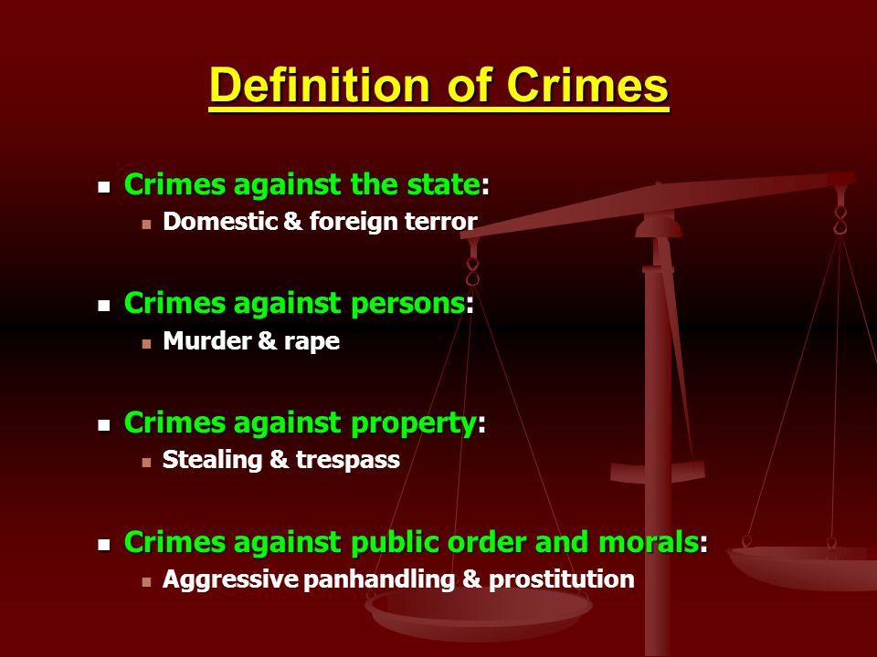 Definition of Crimes Crimes against the state: Crimes against the state: Domestic & foreign terror Crimes against persons: Crimes against persons: Mur