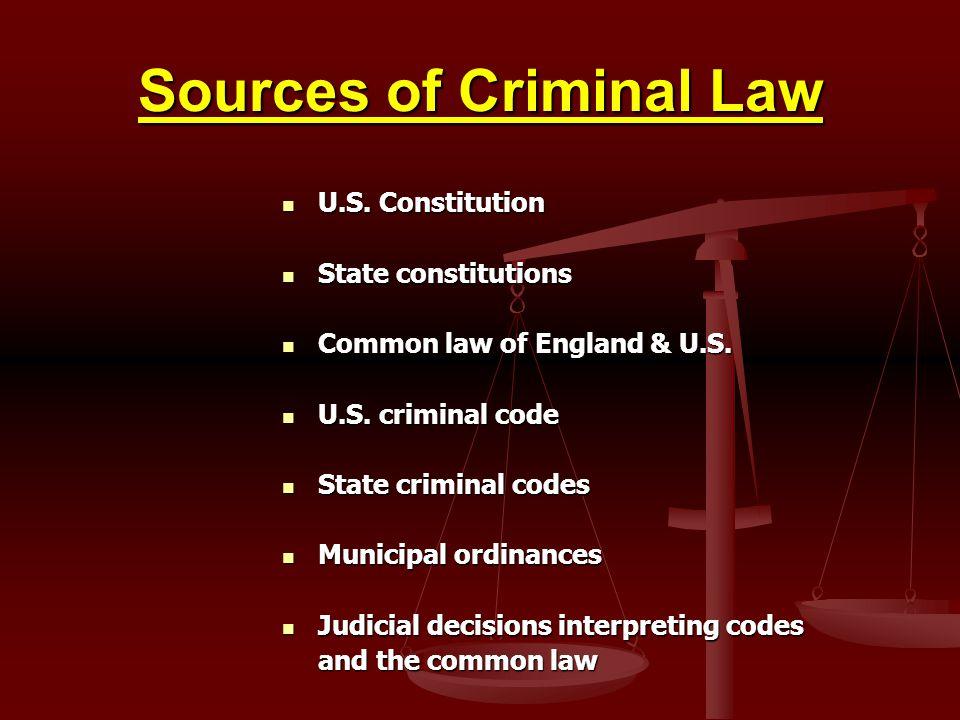 Sources of Criminal Law U.S.Constitution U.S.