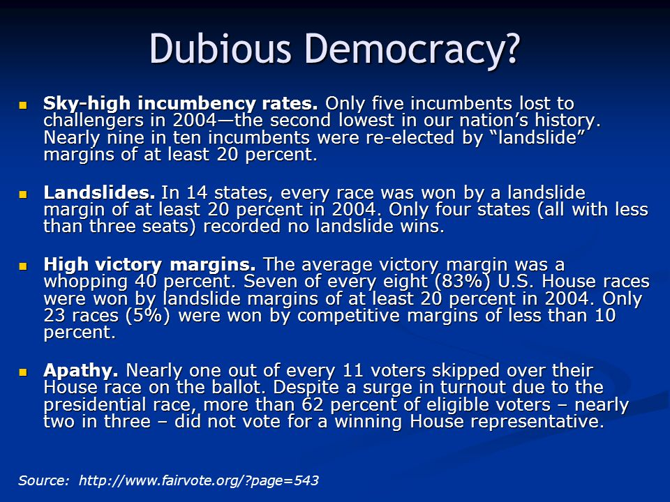 Dubious Democracy.Sky-high incumbency rates.