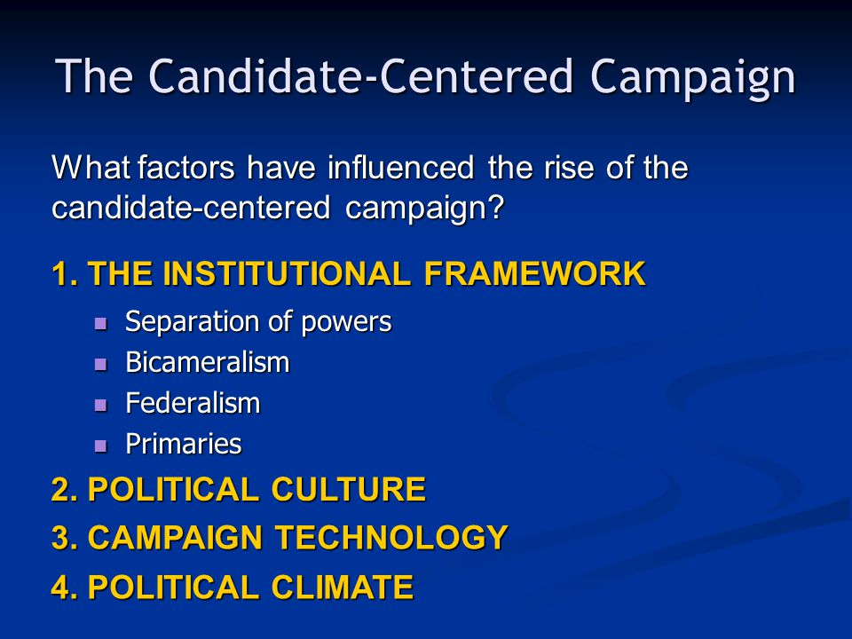 The Candidate-Centered Campaign Separation of powers Separation of powers Bicameralism Bicameralism Federalism Federalism Primaries Primaries 1.