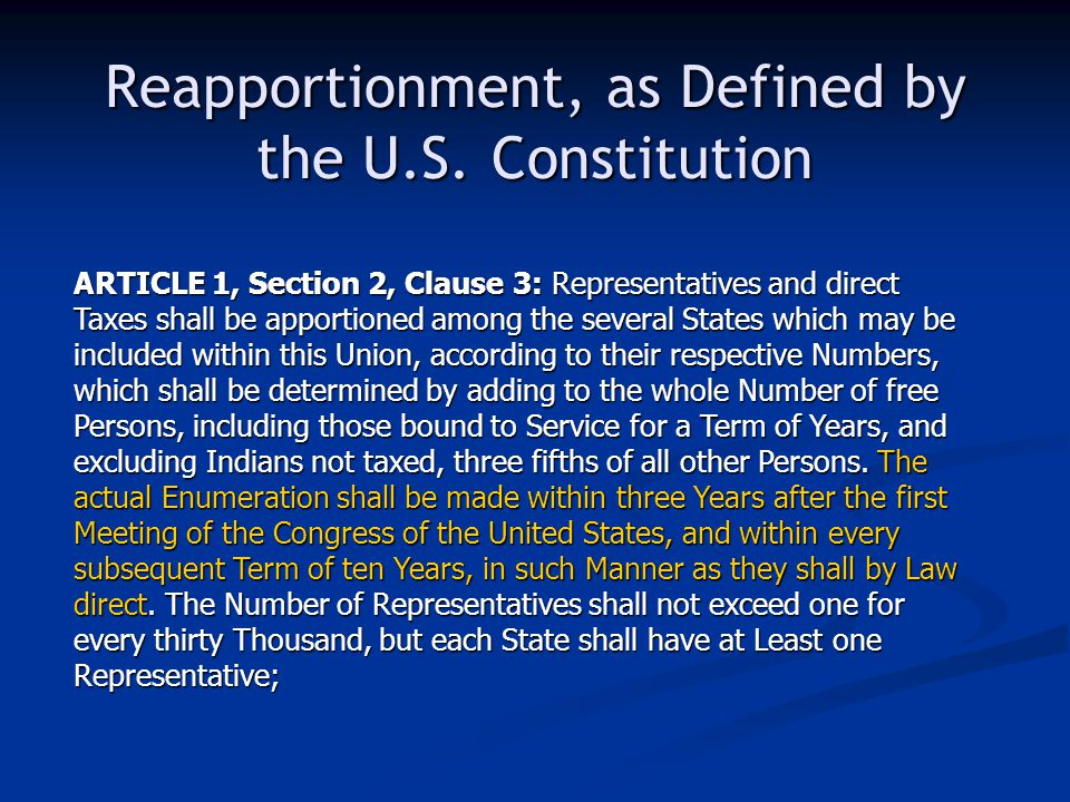 Reapportionment, as Defined by the U.S.