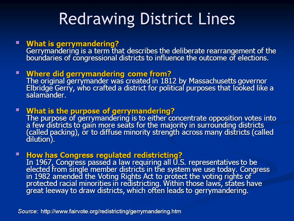 Redrawing District Lines What is gerrymandering.