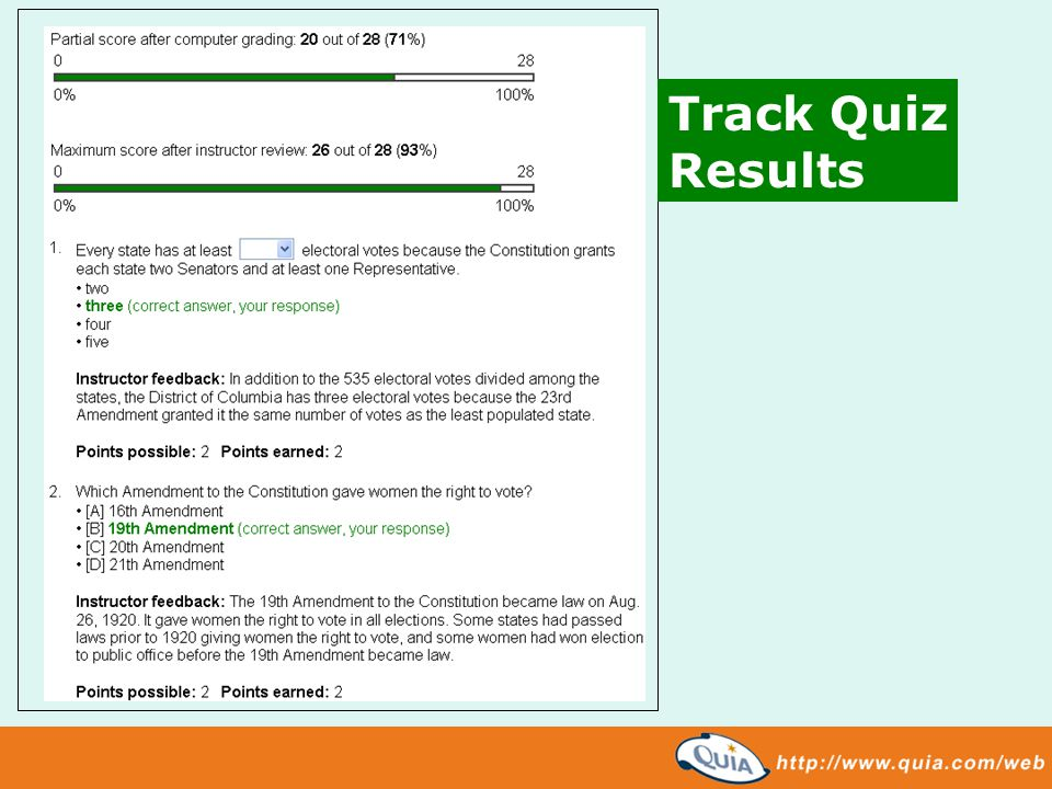 Track Quiz Results
