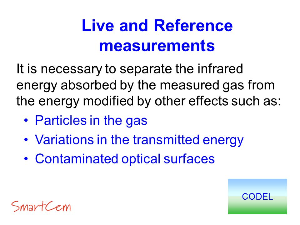Live and Reference measurements Particles in the gas Variations in the transmitted energy Contaminated optical surfaces CODEL It is necessary to separ