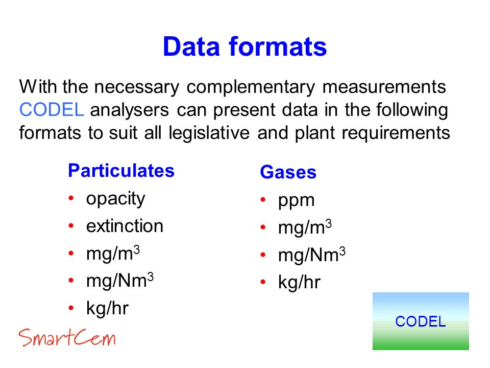 Data formats CODEL Gases ppm mg/m 3 mg/Nm 3 kg/hr With the necessary complementary measurements CODEL analysers can present data in the following form