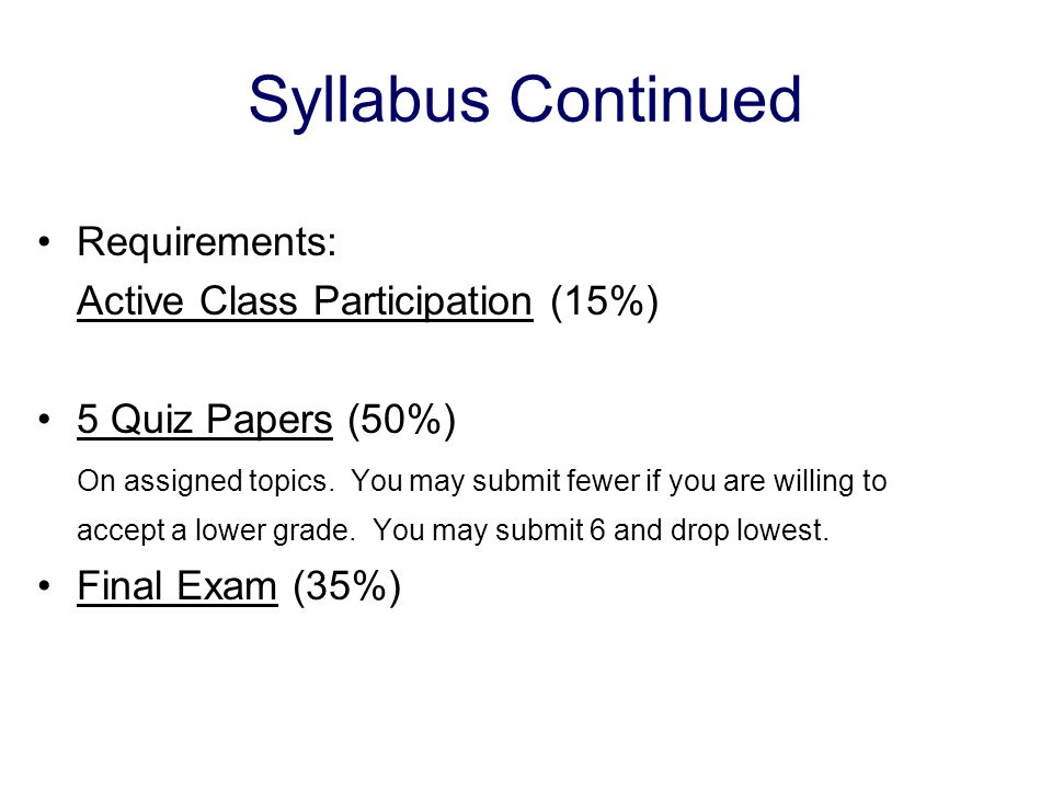 Syllabus Continued Requirements: Active Class Participation (15%) 5 Quiz Papers (50%) On assigned topics.