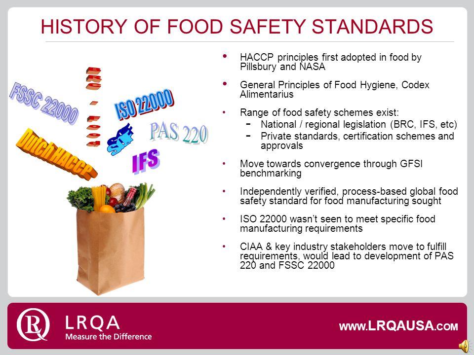 RANGE OF FOOD SAFETY STANDARDS WWW. LRQAUSA.COM
