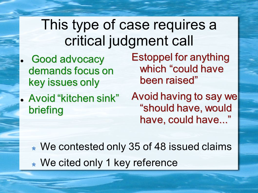 This type of case requires a critical judgment call Good advocacy demands focus on key issues only Avoid kitchen sink briefing Avoid kitchen sink briefing Estoppel for anything which could have been raised Avoid having to say we should have, would have, could have...